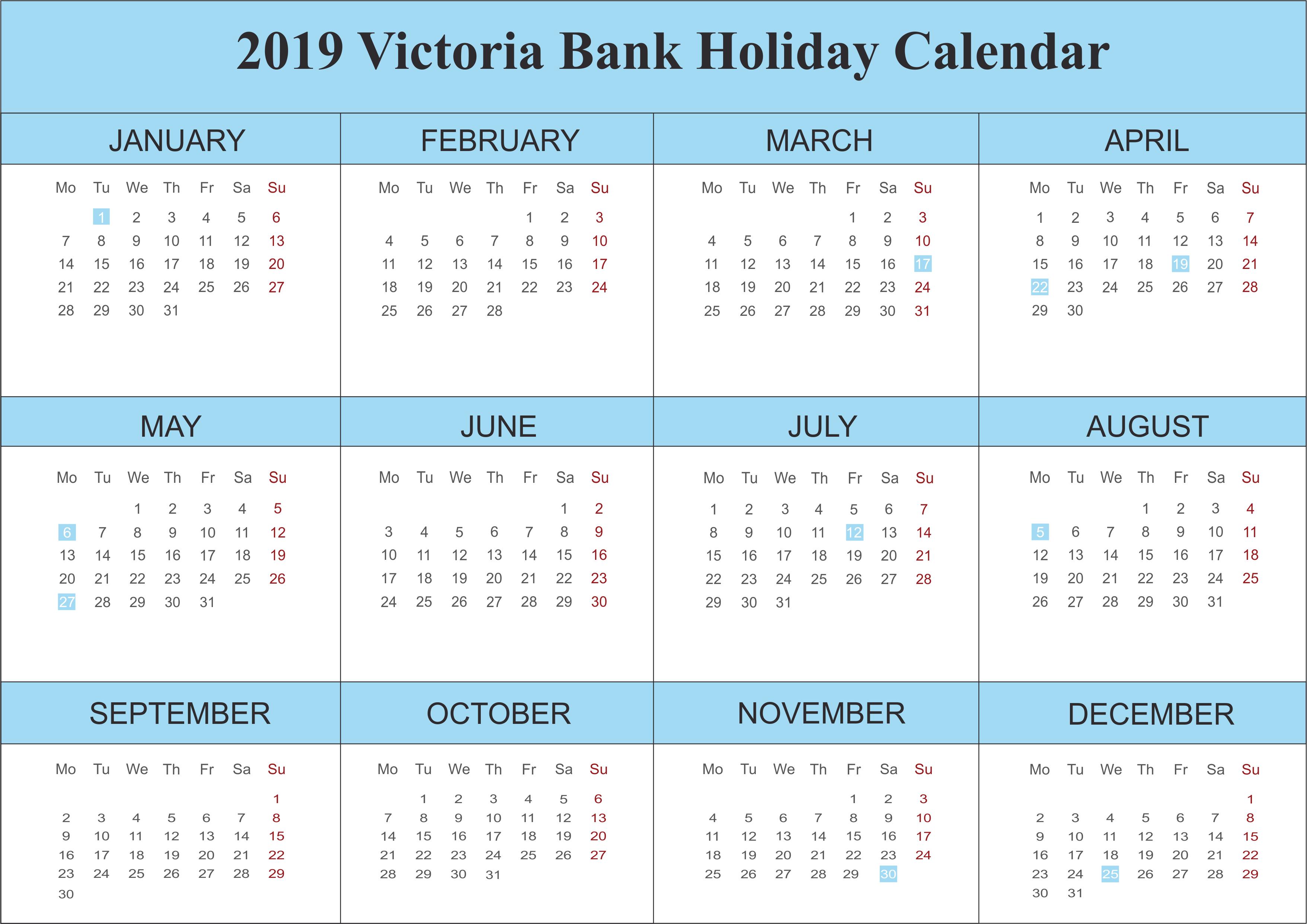 2019 Victoria Blank Holidays Calendar Template - Free Printable Calendar 2019 Victoria