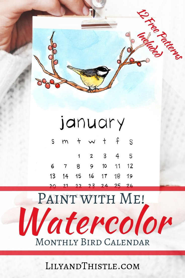 2019 Watercolor Bird Printable Calendar With Free Patterns To Paint Calendar 2019 Video