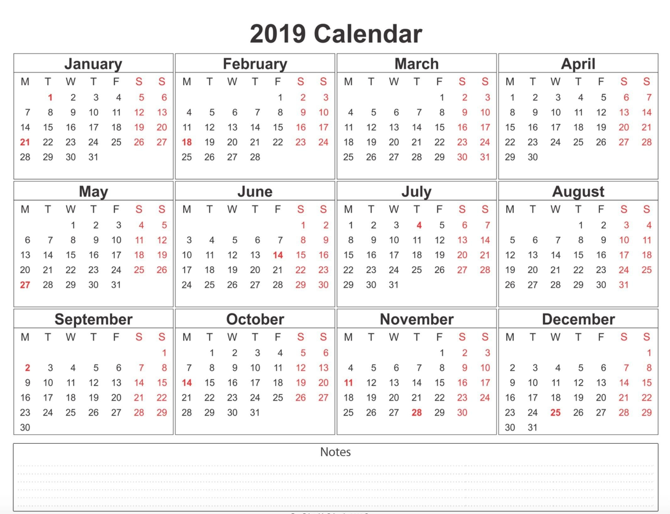 2019 Weekly Calendar Printable | 2019 Calendars | 12 Month Calendar Calendar 2019 With Holidays Usa Printable