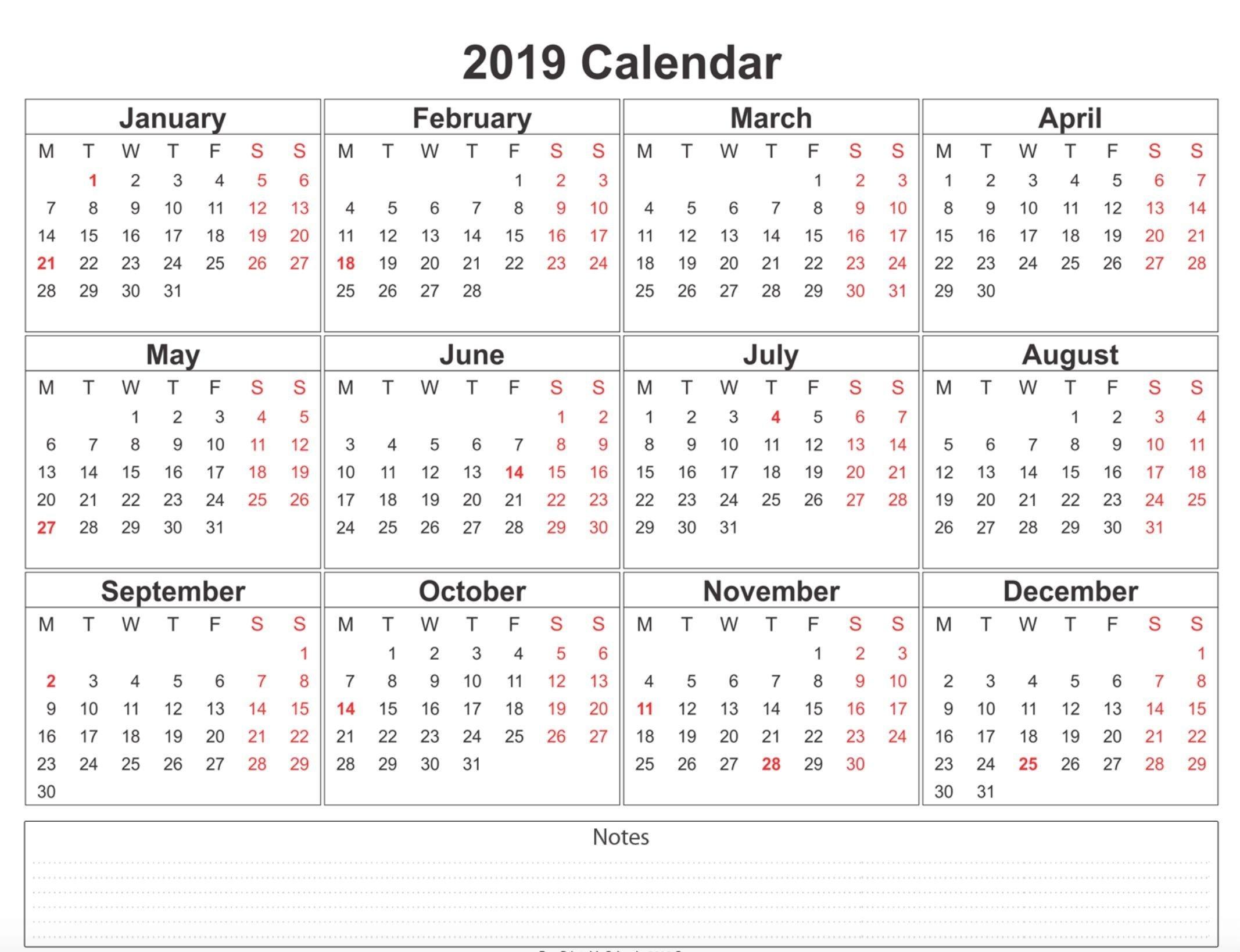 2019 Weekly Calendar Printable | 2019 Calendars | 12 Month Calendar Printable 2019 Calendar