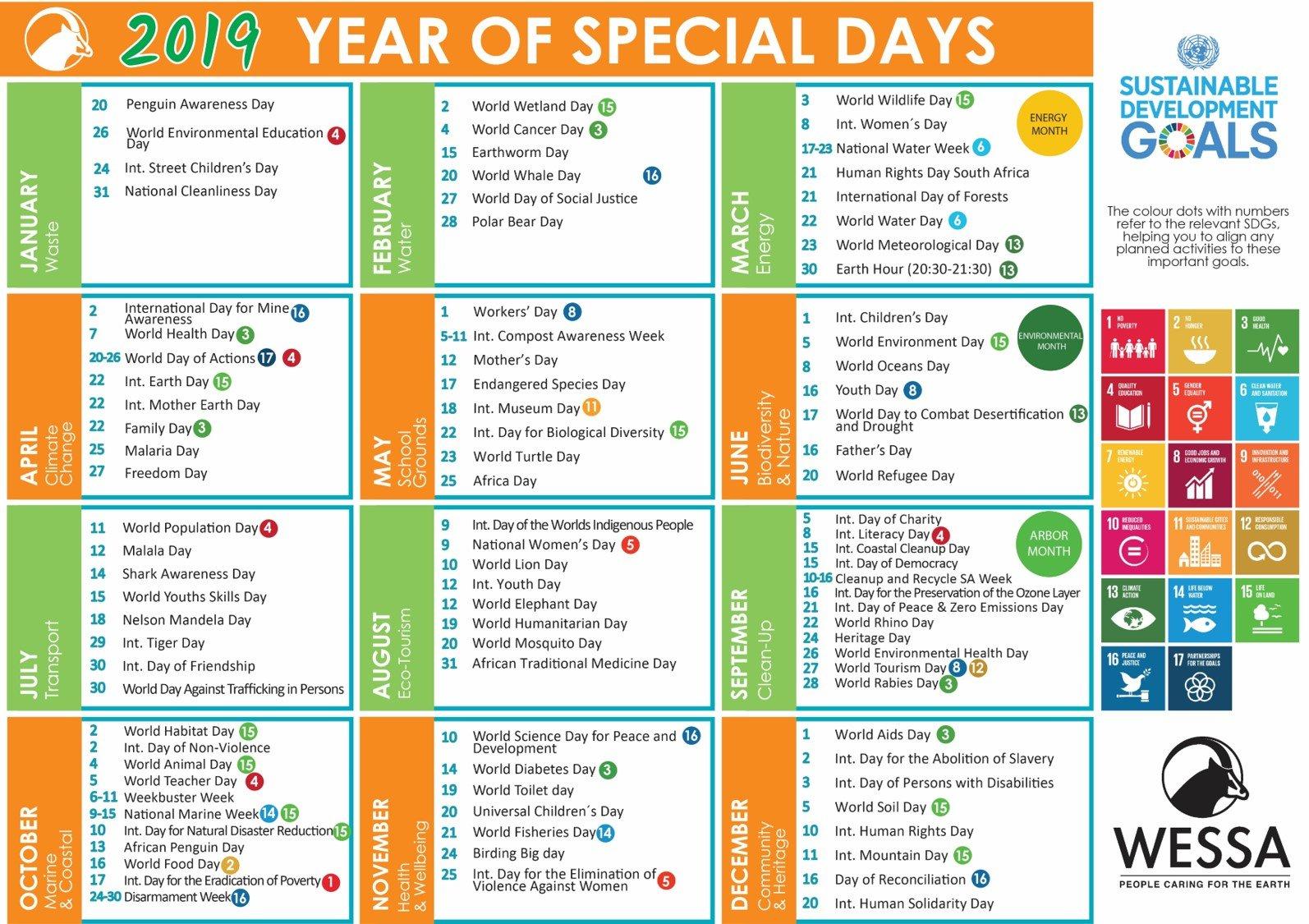 2019 Wessa Special Day Calendar – Wessa Calendar 2019 Special Days