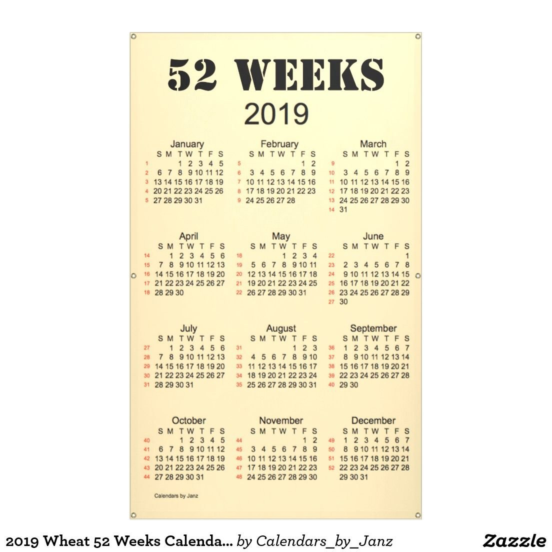 2019 Wheat 52 Weeks Calendarjanz Banner | Wholesale Merchandise 2019 Calendar 52 Weeks