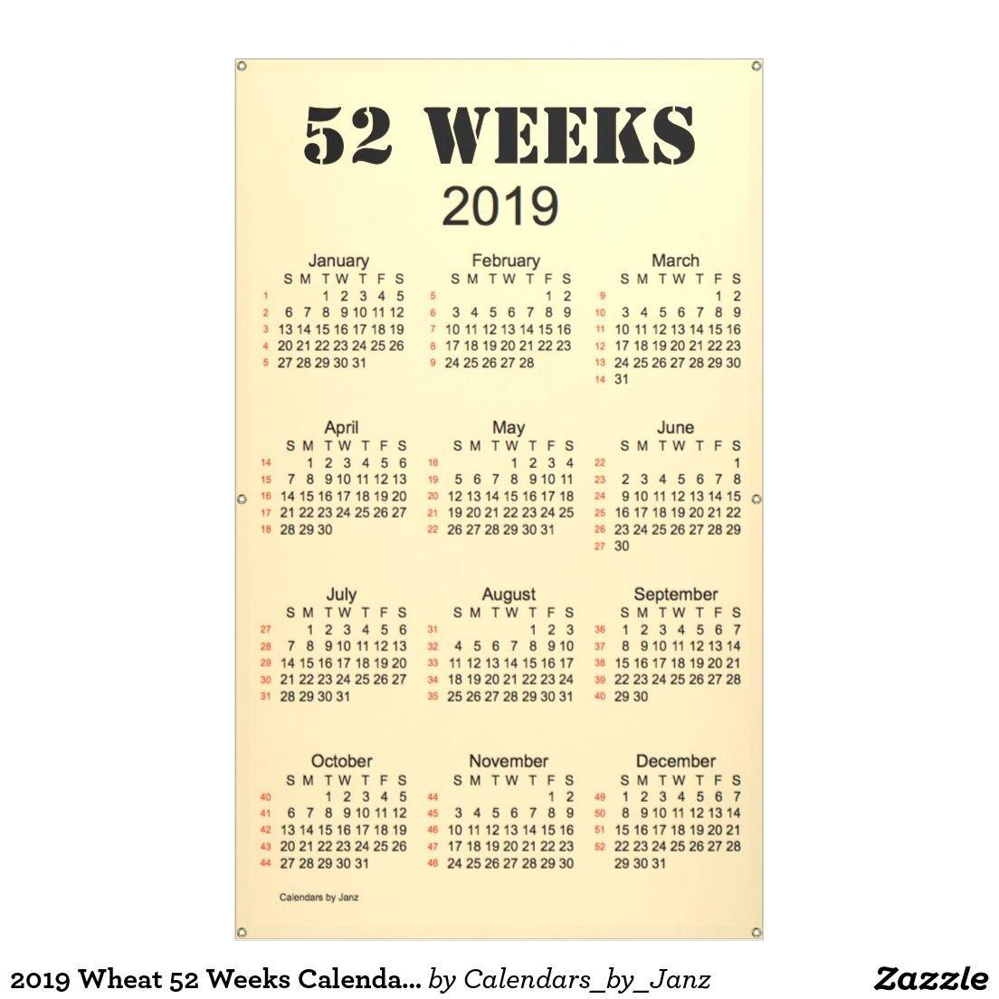 2019 Wheat 52 Weeks Calendarjanz Banner | Wholesale Merchandise 2019 Calendar 52 Weeks
