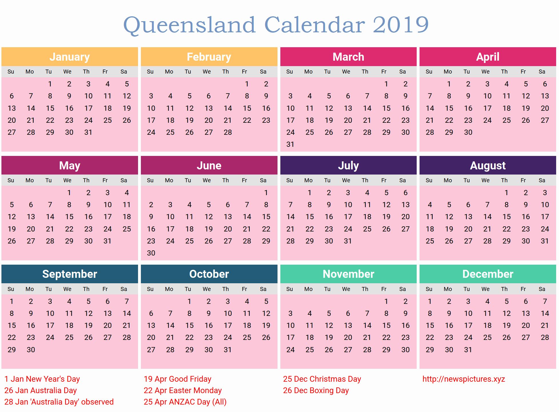2019 Word Calendar With Holidays Unique Free Qld Calendar 2019 Calendar 2019 Qld Pdf