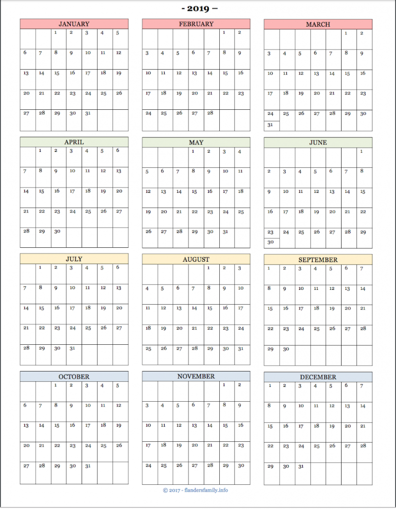 2019 Year-At-A- Glance Calendars And Habit Trackers - Flanders Calendar 2019 At A Glance