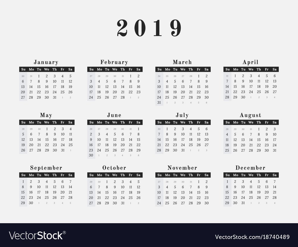 2019 Year Calendar Horizontal Design Royalty Free Vector Calendar 2019 Horizontal