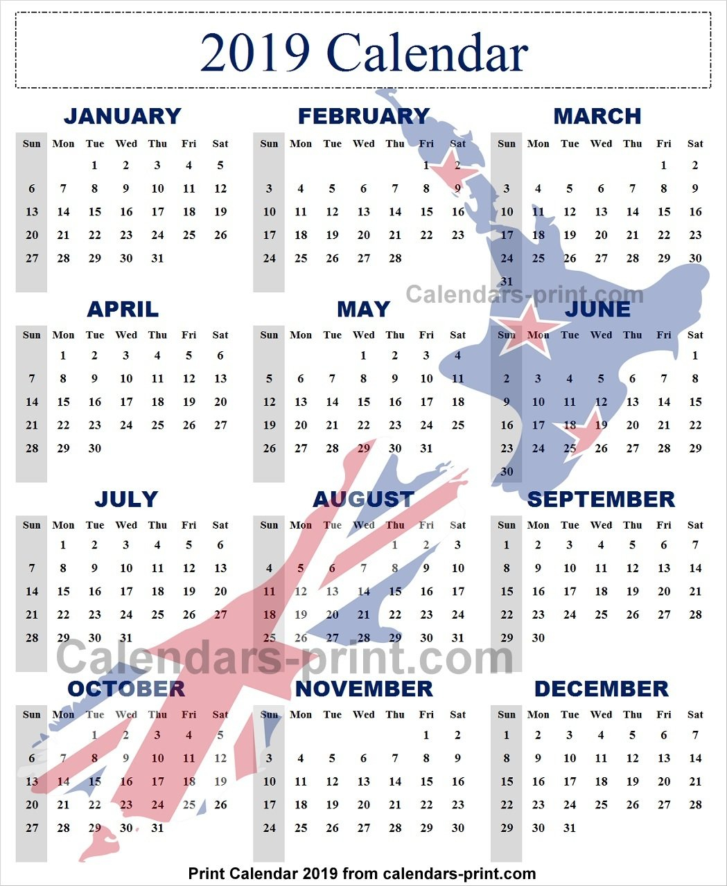 2019 Year Calendar Nz To Print Free | Download Blank Pdf Template Calendar 2019 Nz