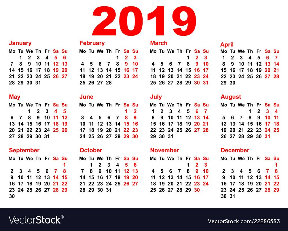 2019 Year Calendar Template Grid Pocket Horizontal Calendar 2019 Horizontal