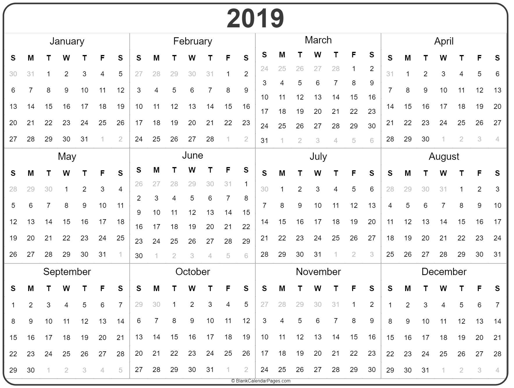 2019 Year Calendar | Yearly Printable Calendar 2019 Full Year