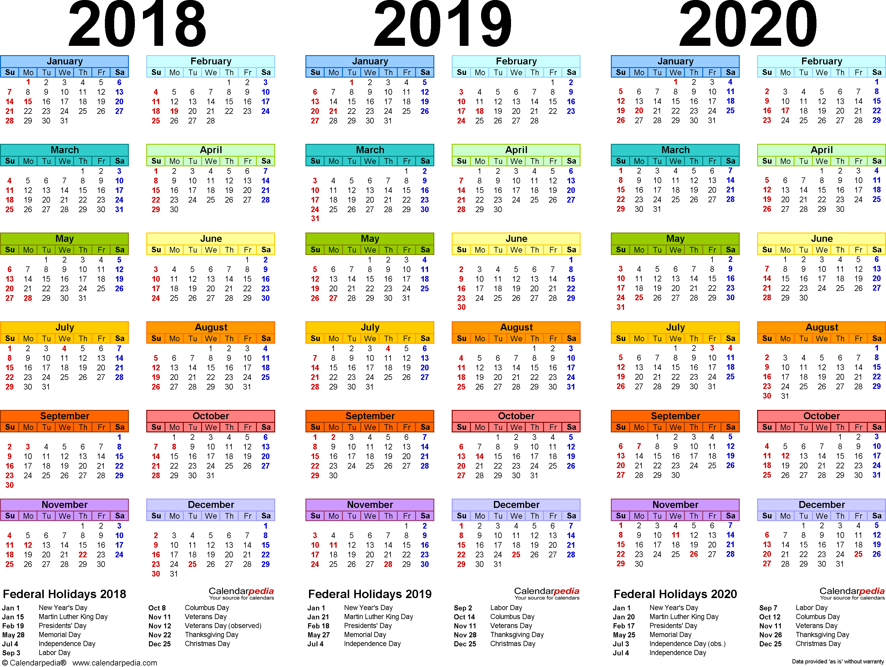 2019 Yearly Calendar - Free Download | Printables | Printable 2 Year Pocket Calendar 2019 And 2020