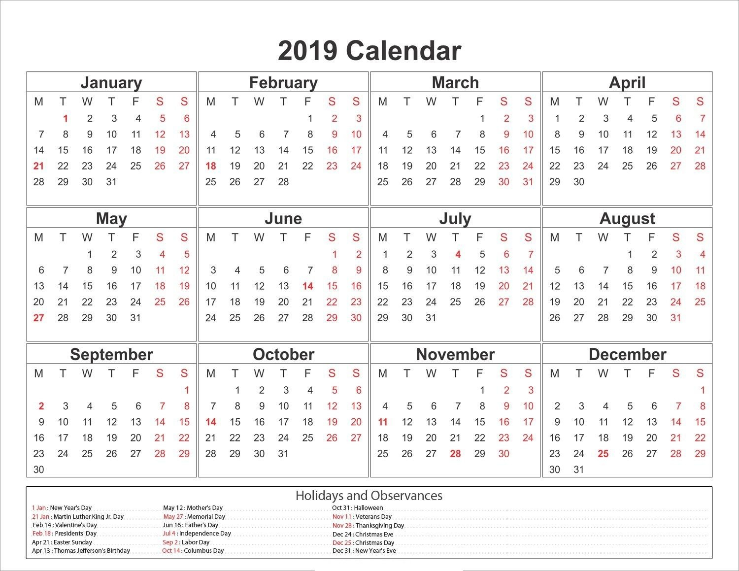 2019 Yearly Calendar Printable #2019Calendar #holidayscalendar Calendar 2019 Martin Luther King