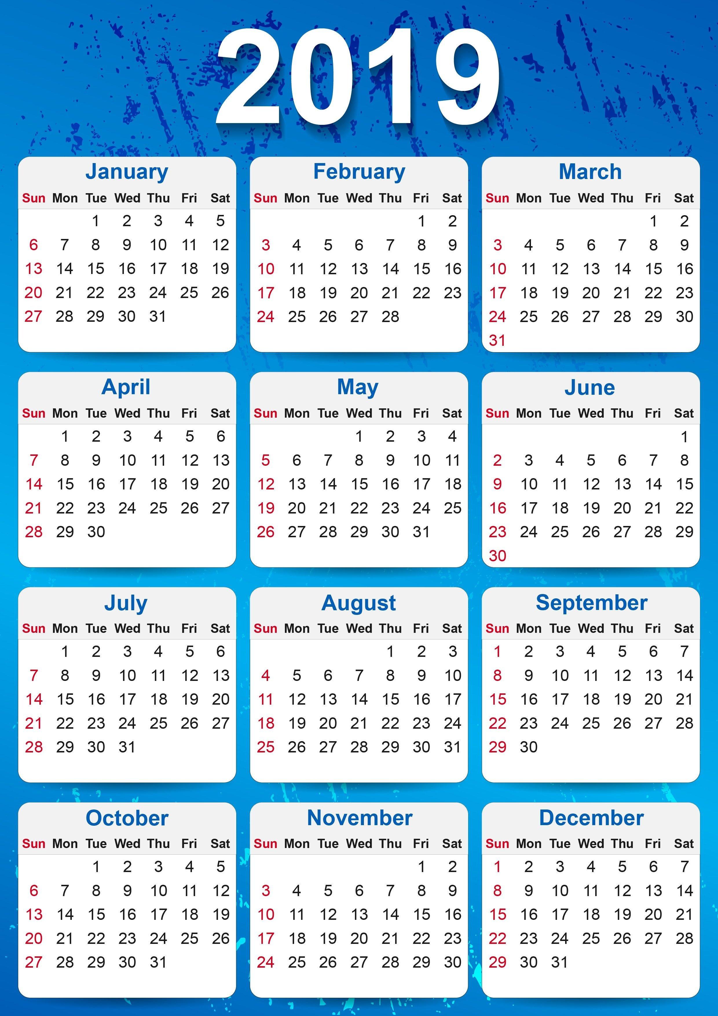 2019 Yearly Calendar Printable | Calendar | 2019 Yearly Calendar Calendar 2019 Pdf Free Download