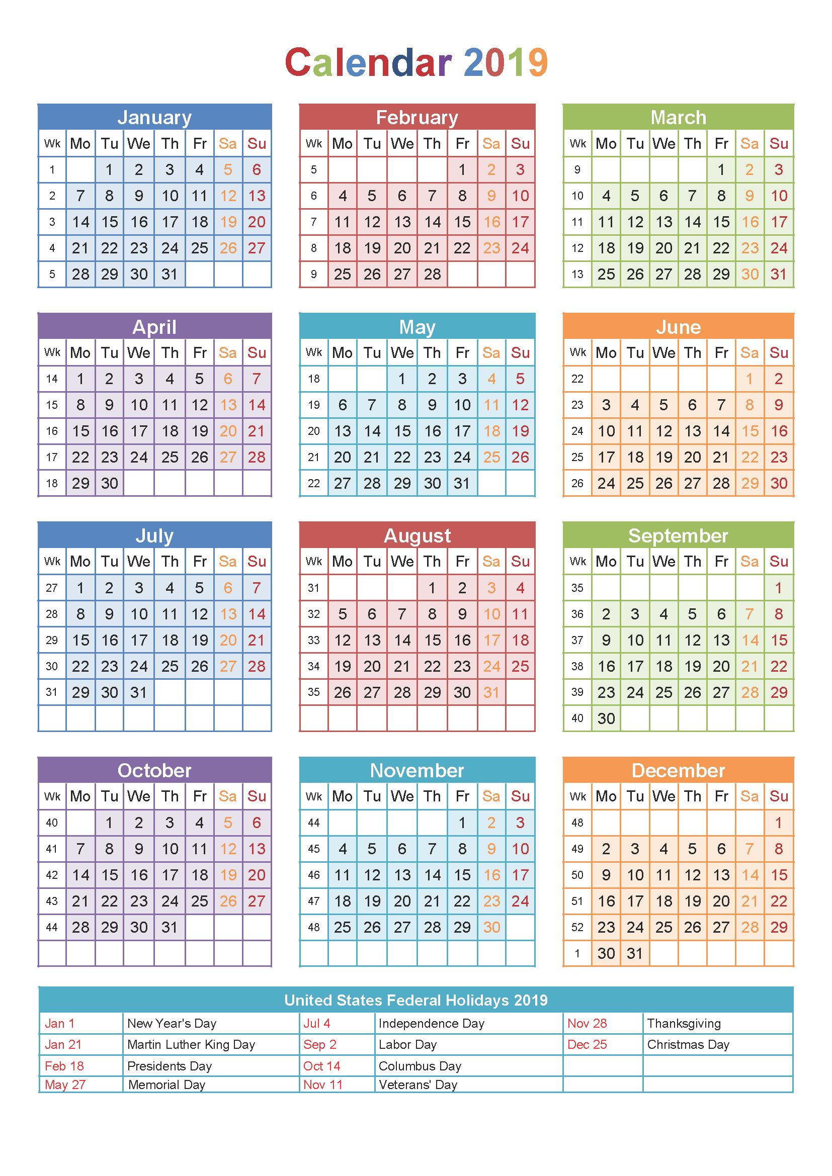 2019 Yearly Calendar Printable Templates – Holidays, Pdf Word Excel 544 Calendar 2019