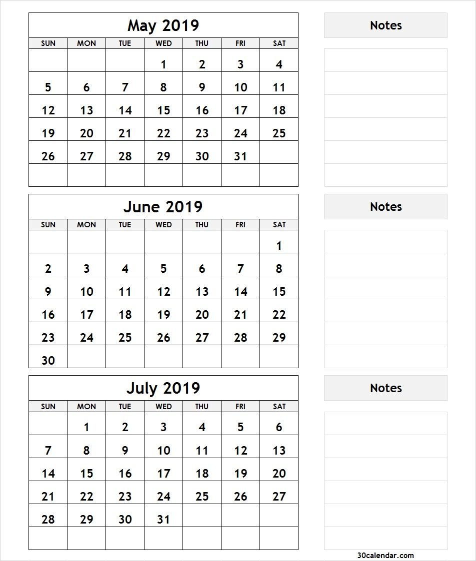 3 Month Calendar May June July 2019 With Notes   2019 Calendars July 3 2019 Calendar