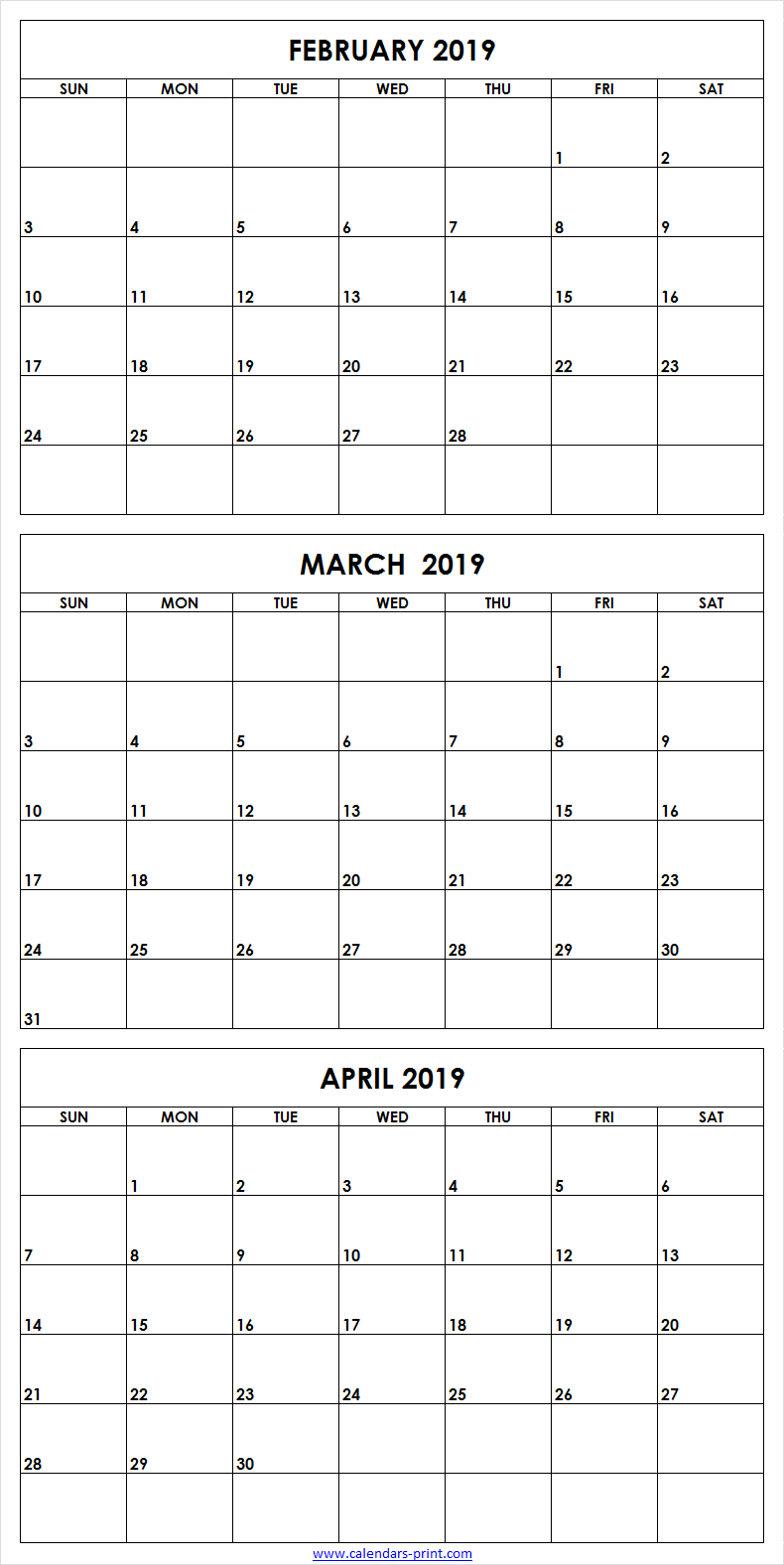 3 Month February To April 2019 Calendar Template | February 2019 3 Month Calendar 2019
