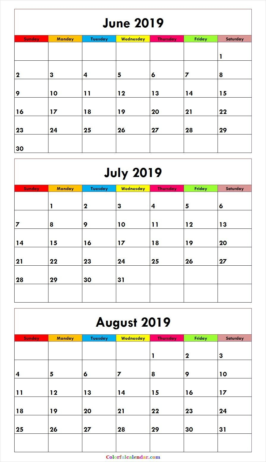 3 Month June July August 2019 Calendar Green | Misc. Stuff | August July 3 2019 Calendar