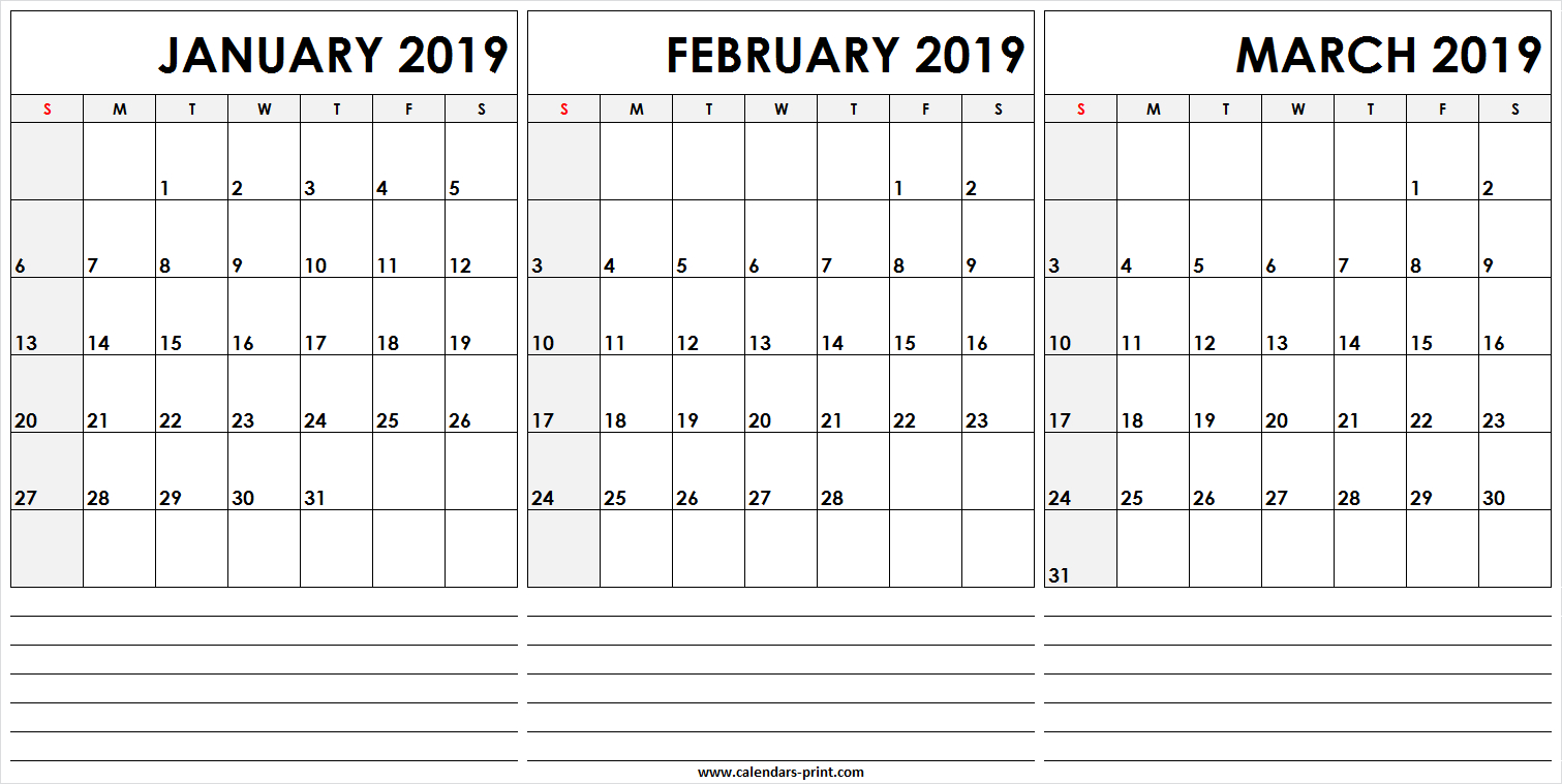 3 Monthly January February March 2019 Calendar | Editable Template Calendar 2019 Jan Feb March