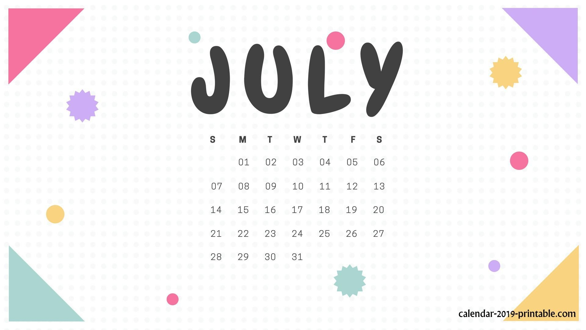32+] July 2019 Calendar Wallpapers On Wallpapersafari Calendar 2019 Wallpaper