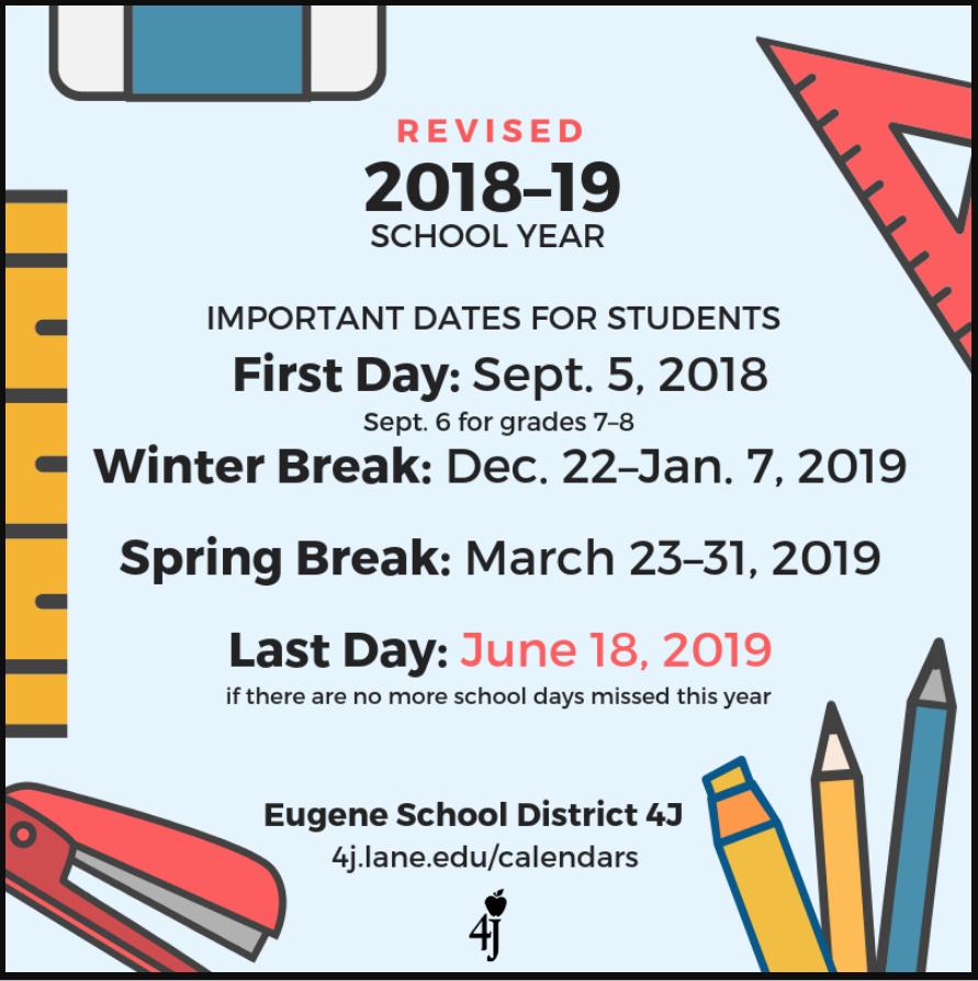 4J Revised Calendar – Date Changes – South Eugene High School 4J Calendar 2019