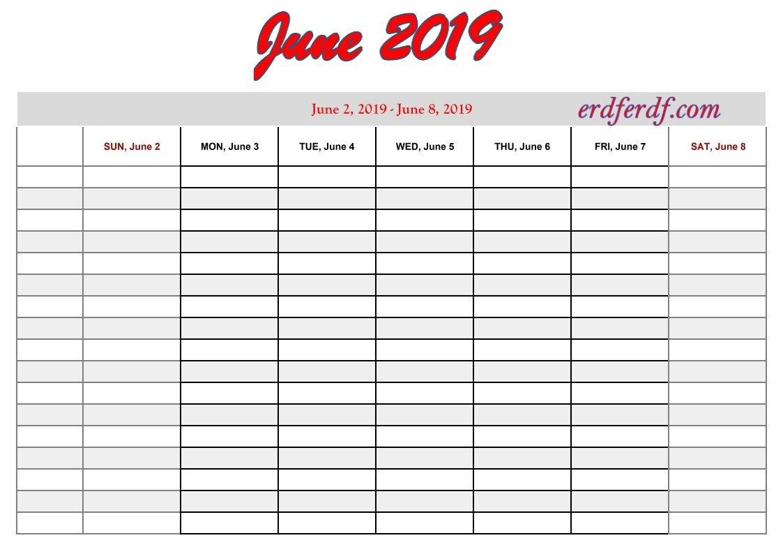 6 June Free Printable 2019 Calendar With Week Numbers | Monthly June 2 2019 Calendar