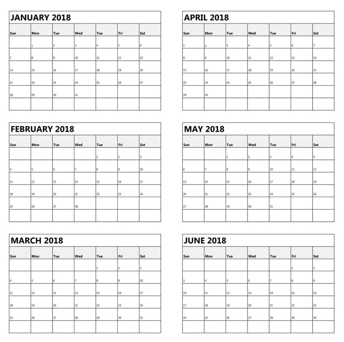 6 Month One Page Calendar 2018 Calendar 2019 | Calendar Template 2019 2019 Calendar 6 Months Per Page