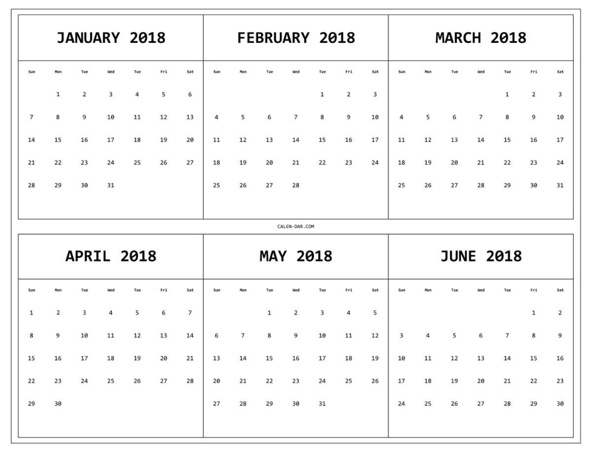 6 Month One Page Printable Calendar 2018 | Maxcalendars | Calendar Printable Calendar 2019 6 Months