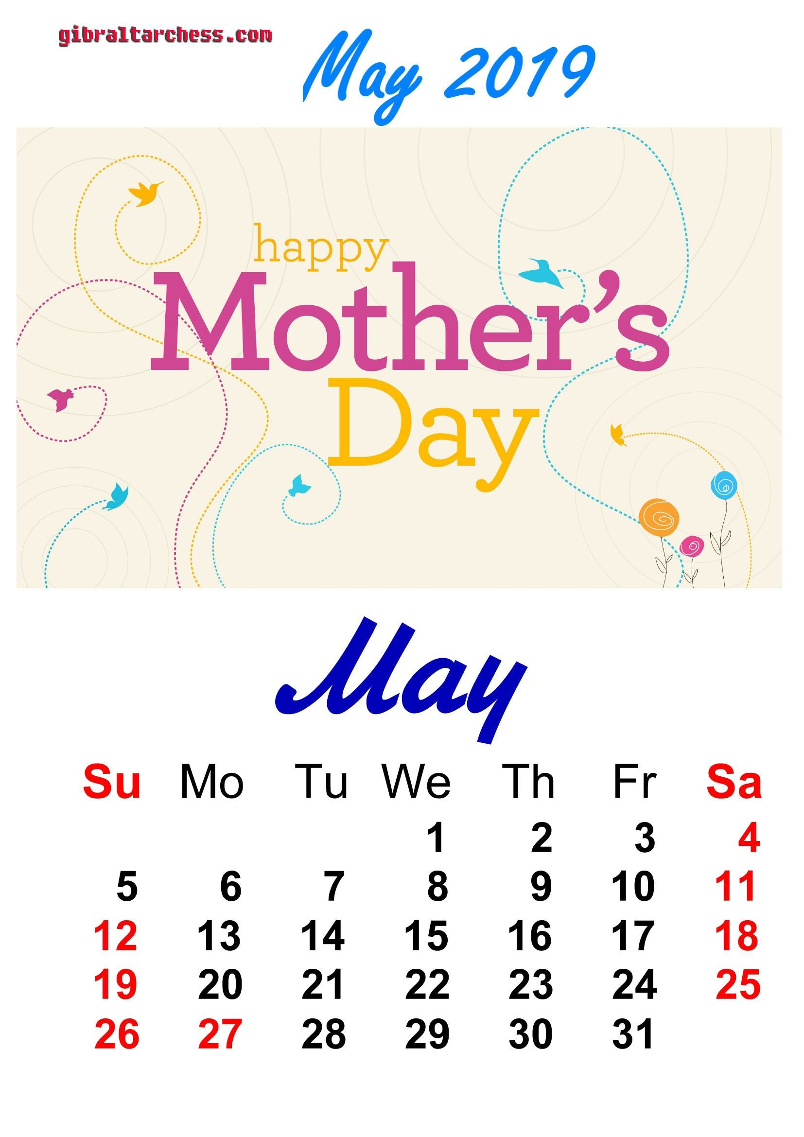 7 May 2019 Holidays Calendar Happy Mothers Day | Calendar Template May 7 2019 Calendar
