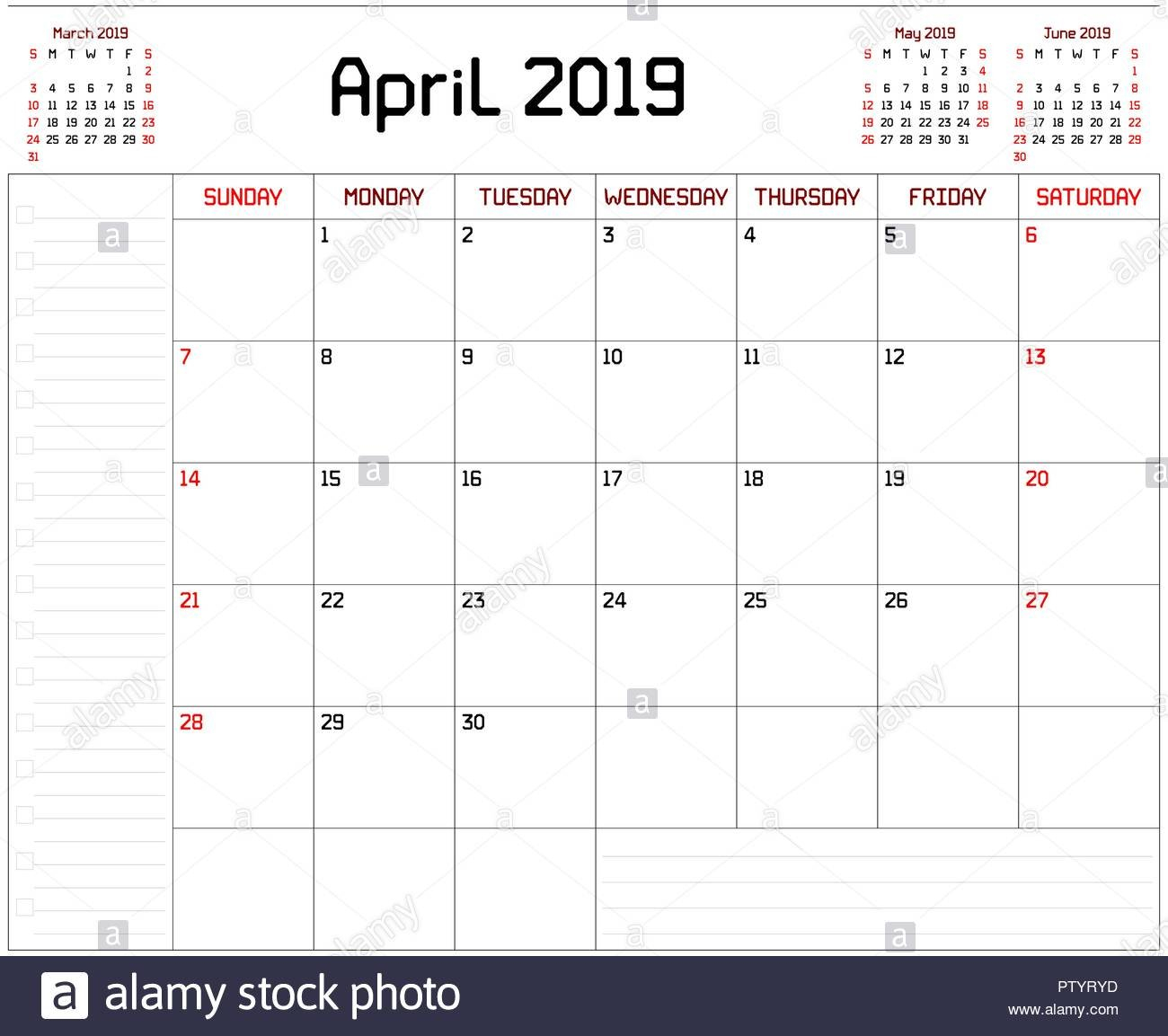A Monthly Planner Calendar For April 2019 On White Background. A Calendar 2019 With Lines