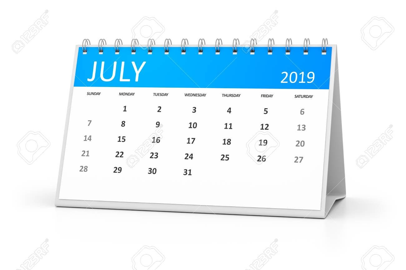 A Table Calendar For Your Events 2019 July 3D Illustration Stock Calendar 2019 Table