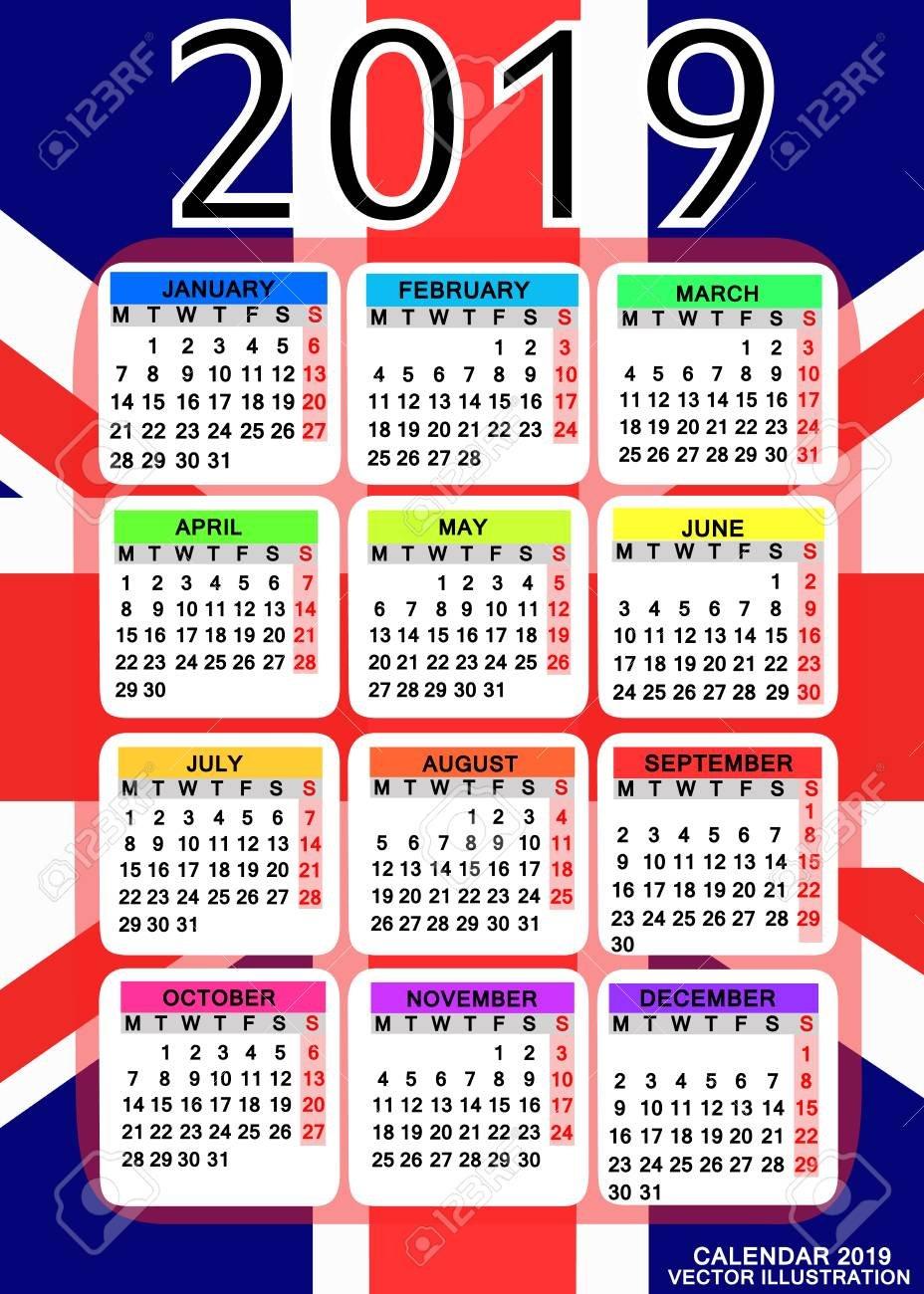 Abstract Calendar For 2019 Year With Flag Of England. Design Calendar 2019 England