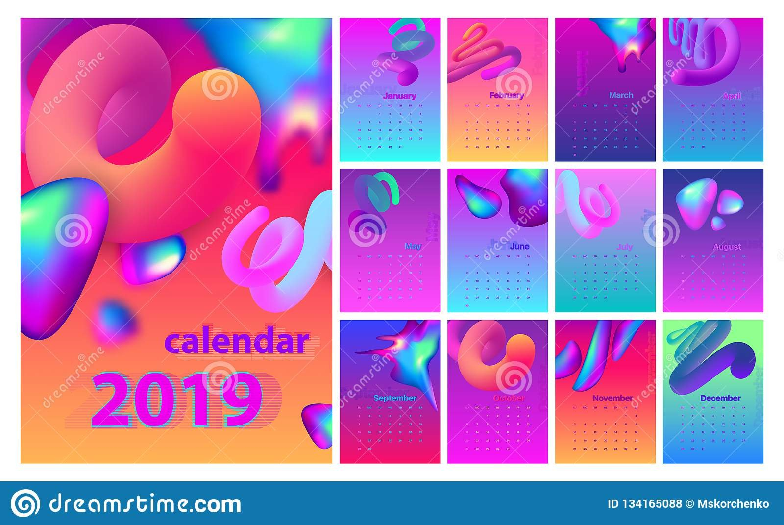 Abstract Minimal Calendar Design For 2019. Colorful Set. Stock Calendar 2019 Cool
