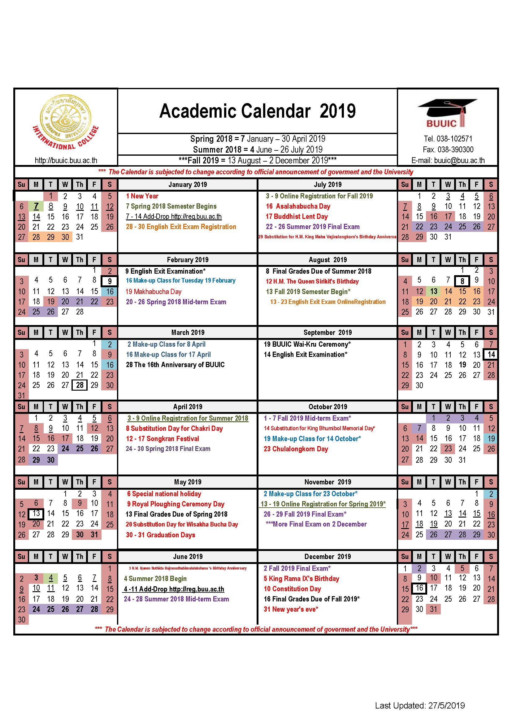 Academic Calendar 2019 - Buuic U Of M Calendar 2019