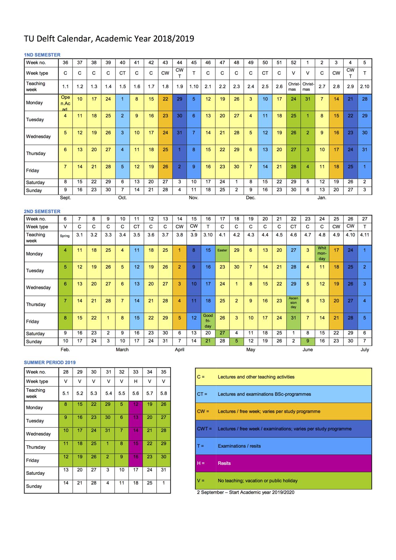 Academic Calendar Cal U Calendar 2019