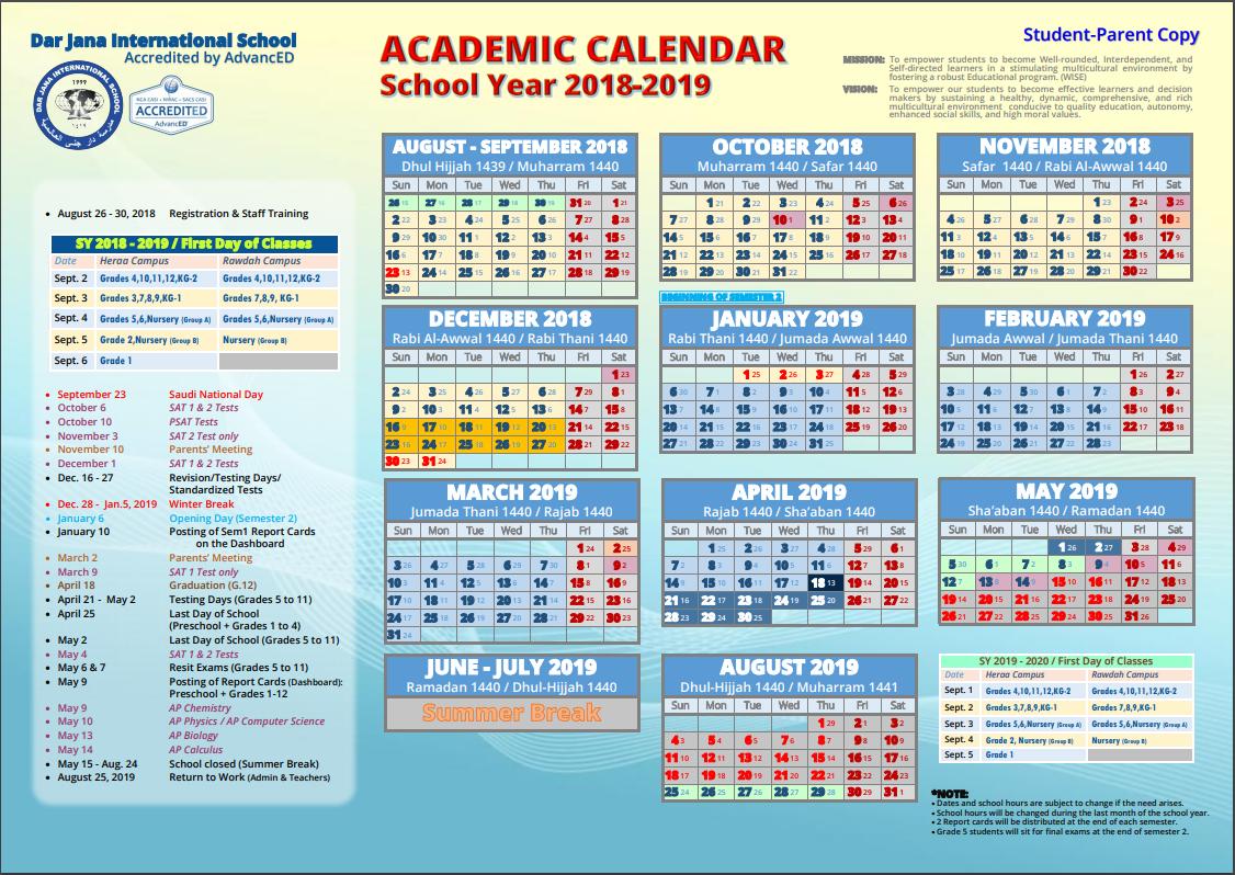 Academic Calendar – Dar Jana Calendar 2019 Ksa