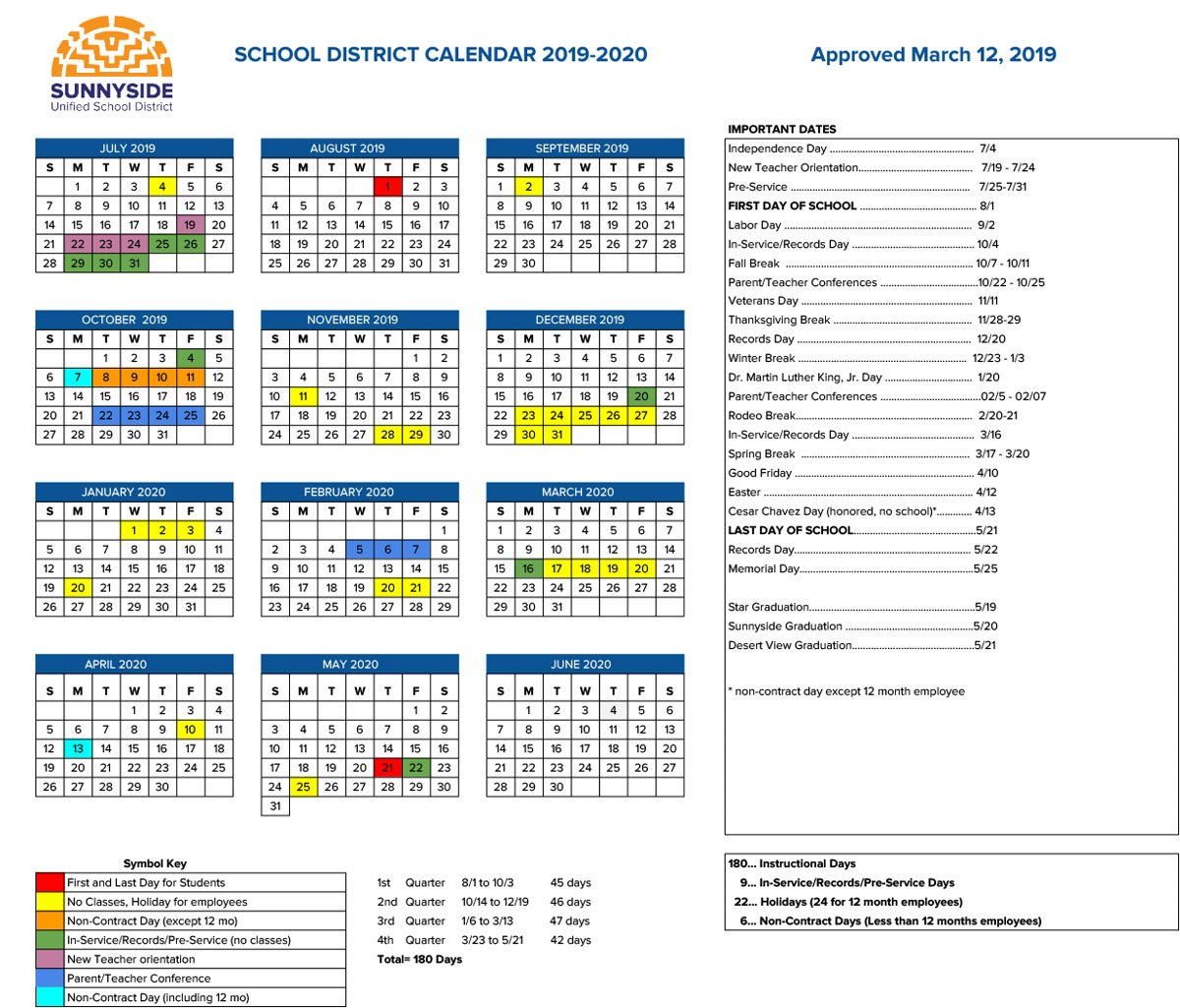 Academic Calendar | Sunnyside Unified School District School District 2 Calendar 2019