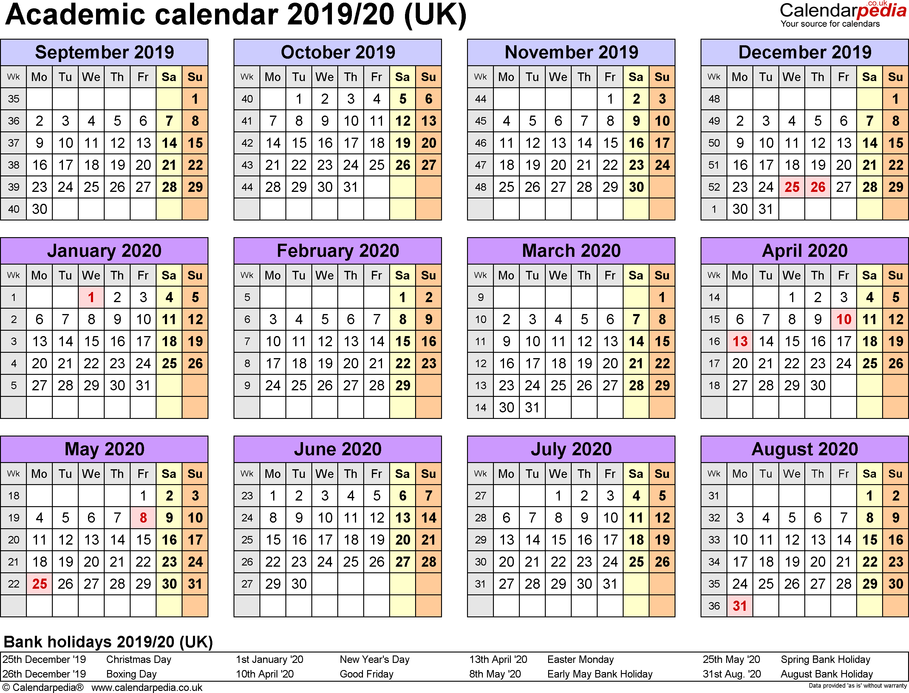 Academic Calendars 2019/2020 As Free Printable Word Templates U Of L Calendar 2019