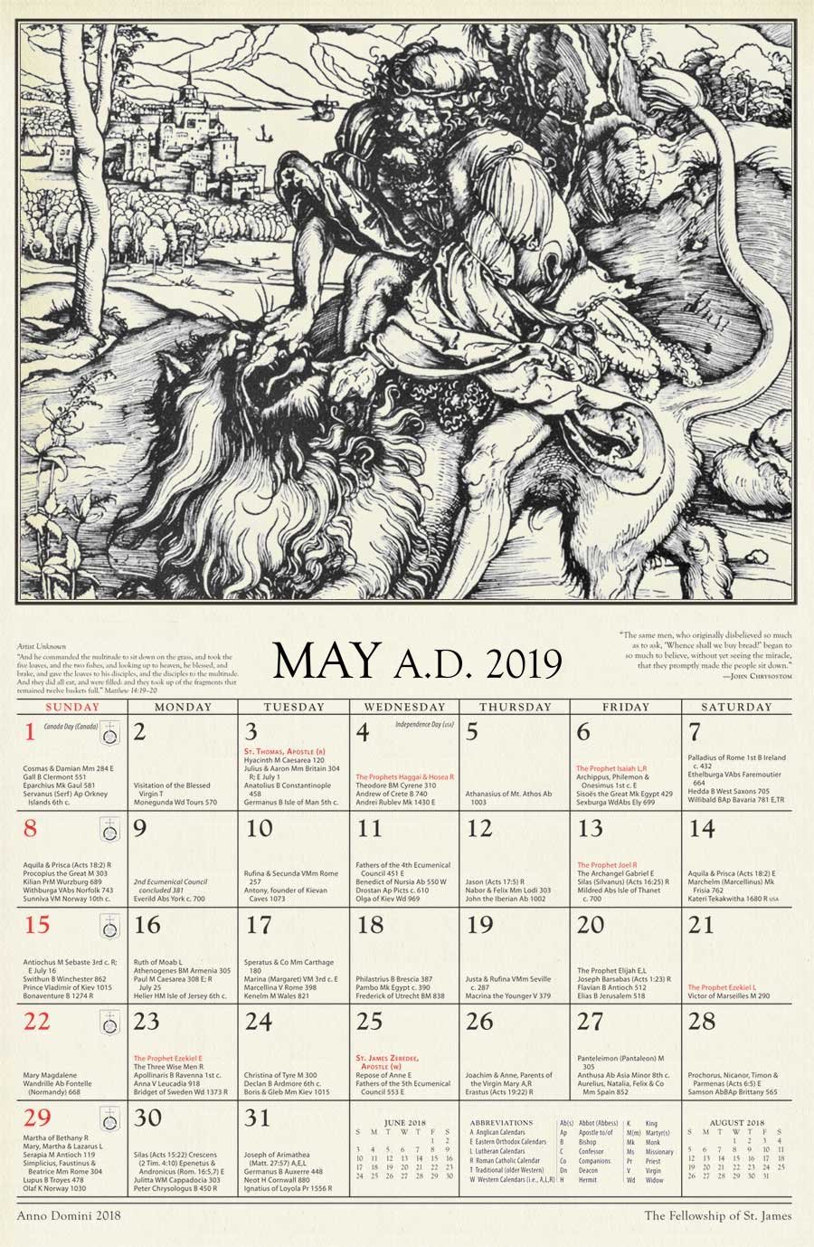 Anno Domini: The 2019 St. James Calendar Calendar X 2019
