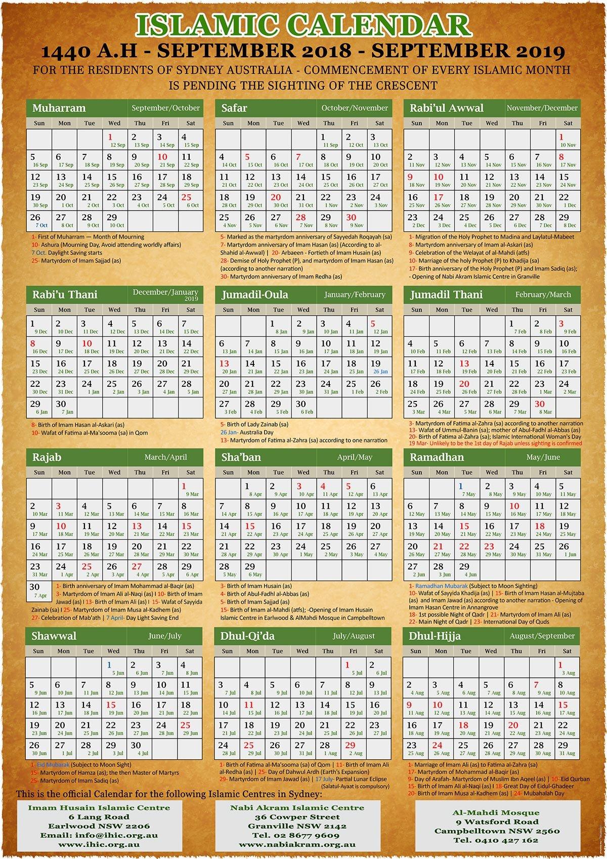 Annual Islamic Calendar 1440 A.h. (2019) – Imam Husain Islamic Centre 2019 Calendar 1440