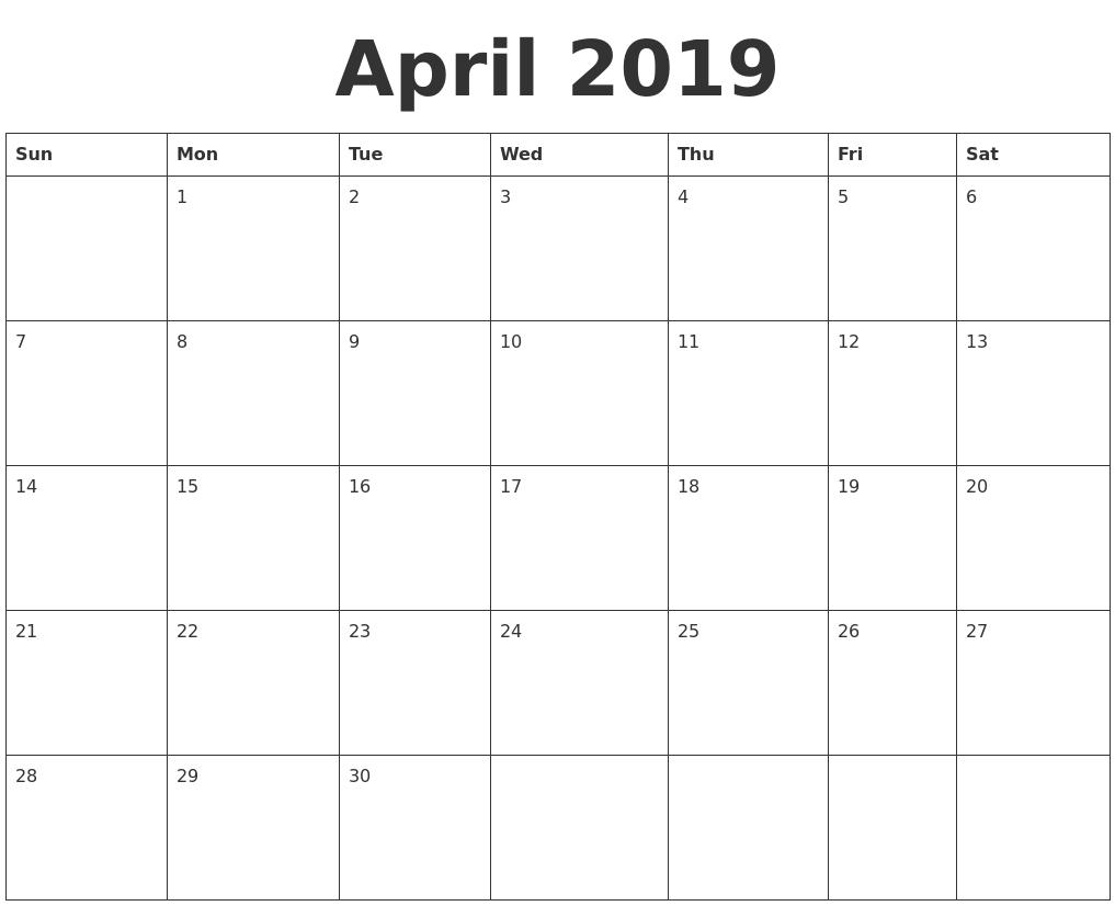 April 2019 Blank Calendar Template Calendar 2019 Blank