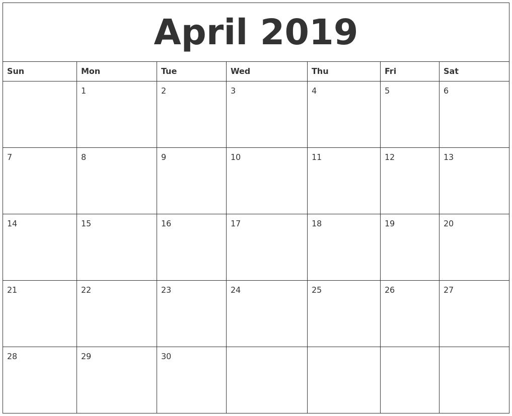 April 2019 Calendar Calendar 2019 April May