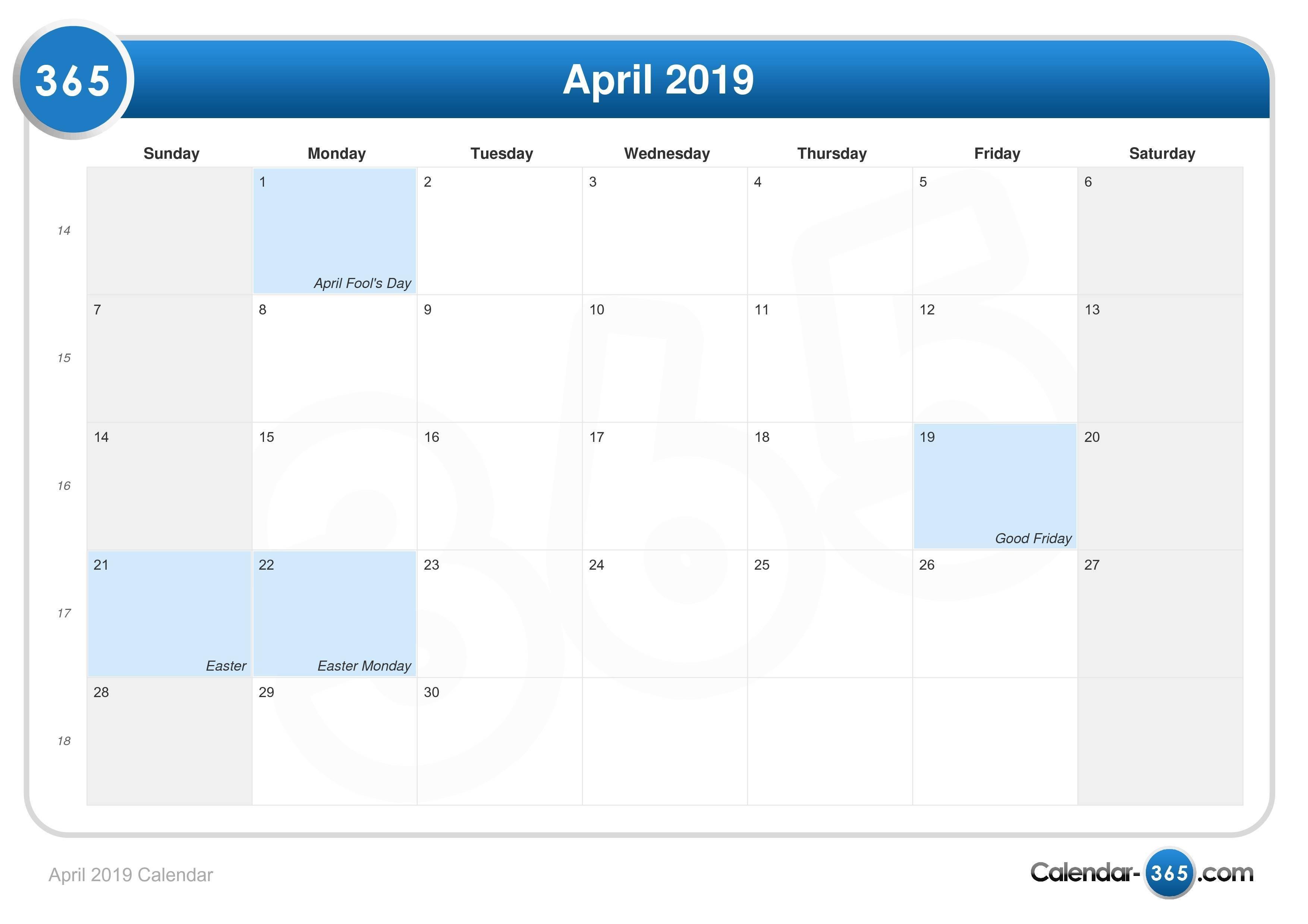 April 2019 Calendar Calendar 2019 Easter