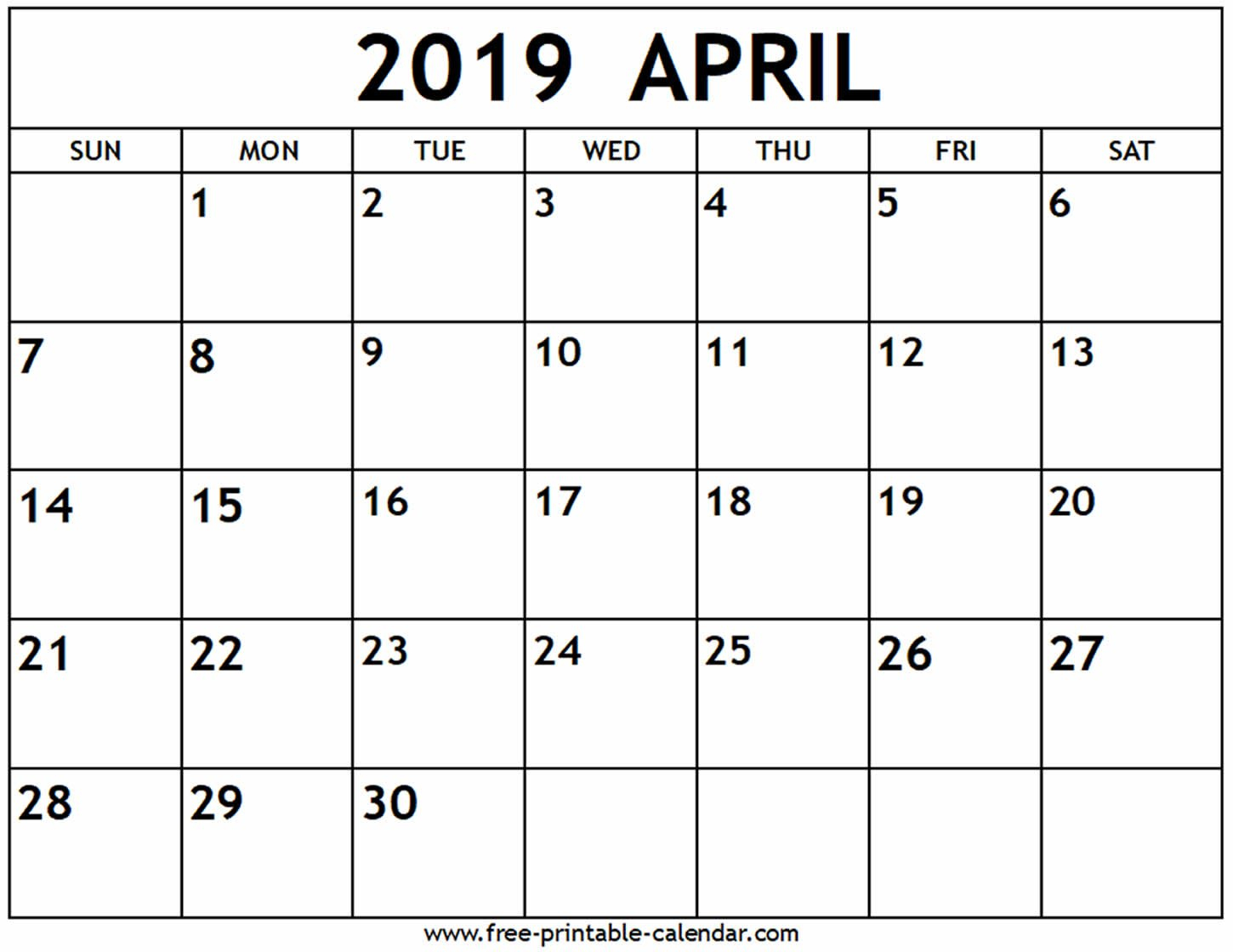 April 2019 Calendar - Free-Printable-Calendar A Calendar For April 2019