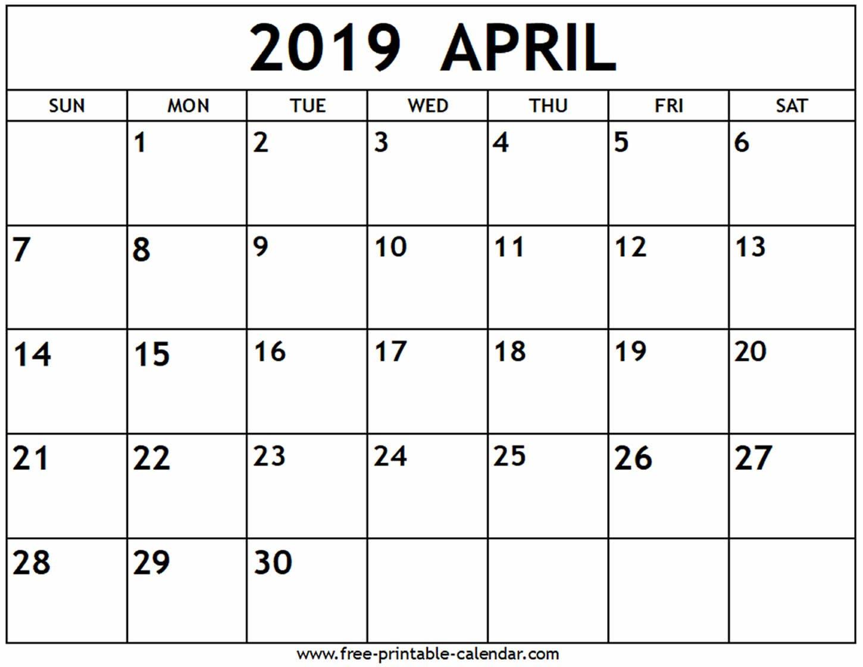 April 2019 Calendar - Free-Printable-Calendar Calendar 2019 April