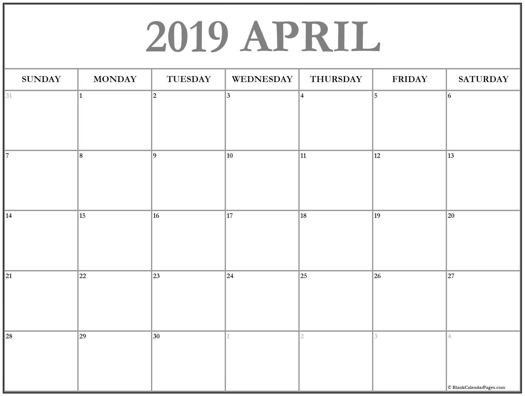April 2019 Calendar | Free Printable Monthly Calendars Calendar 2019 Pages
