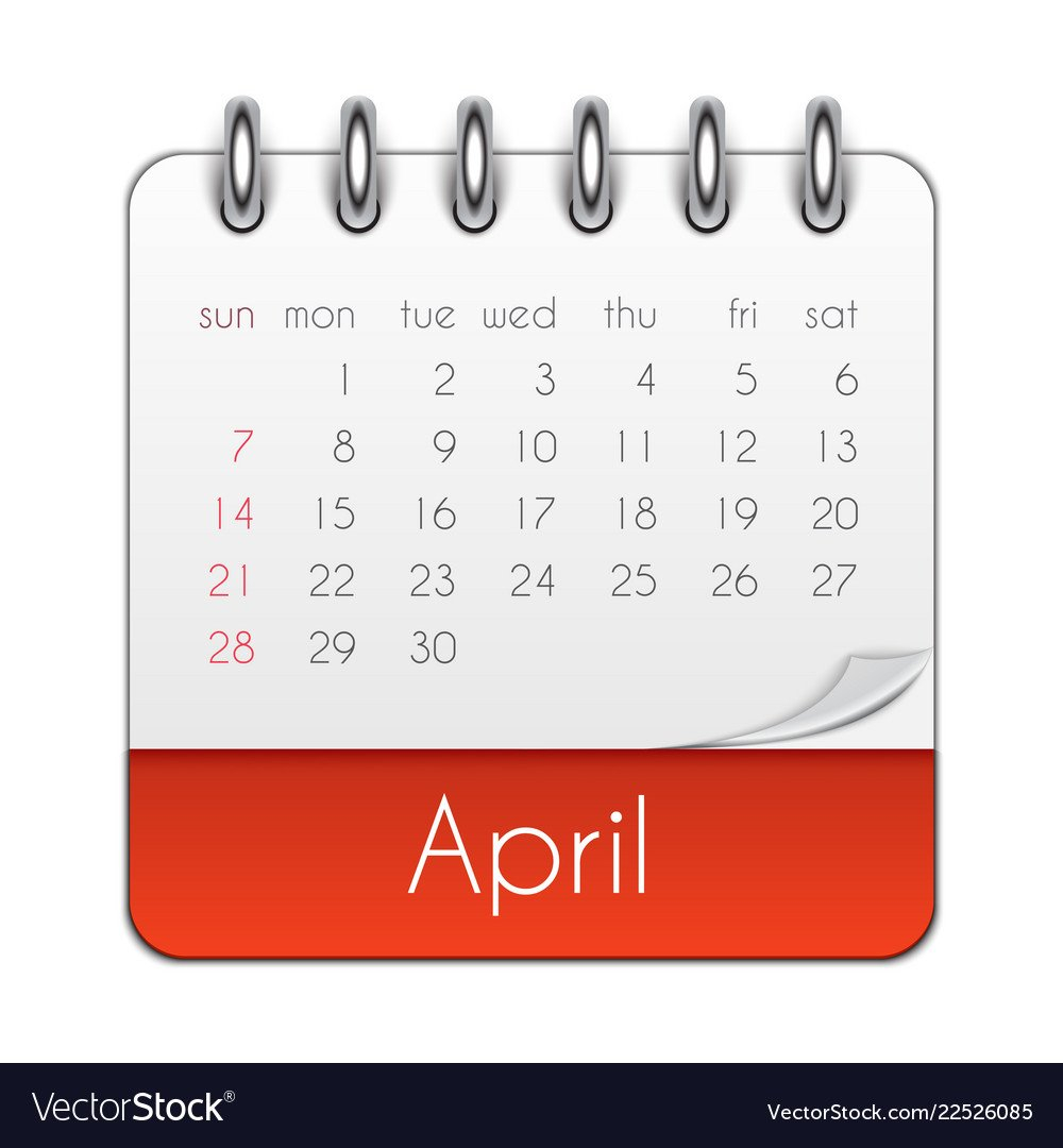 April 2019 Calendar Leaf Template Royalty Free Vector Image April 8 2019 Calendar