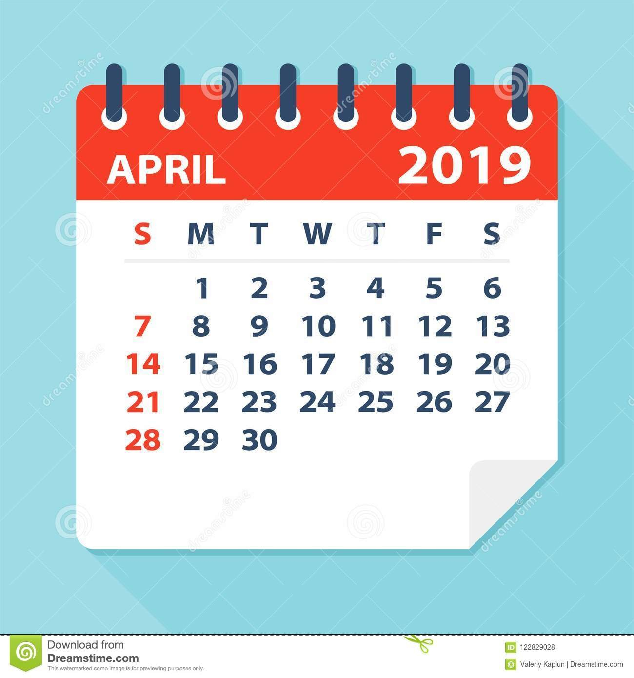 April 2019 Calendar Leaf - Vector Illustration Stock Illustration April 7 2019 Calendar