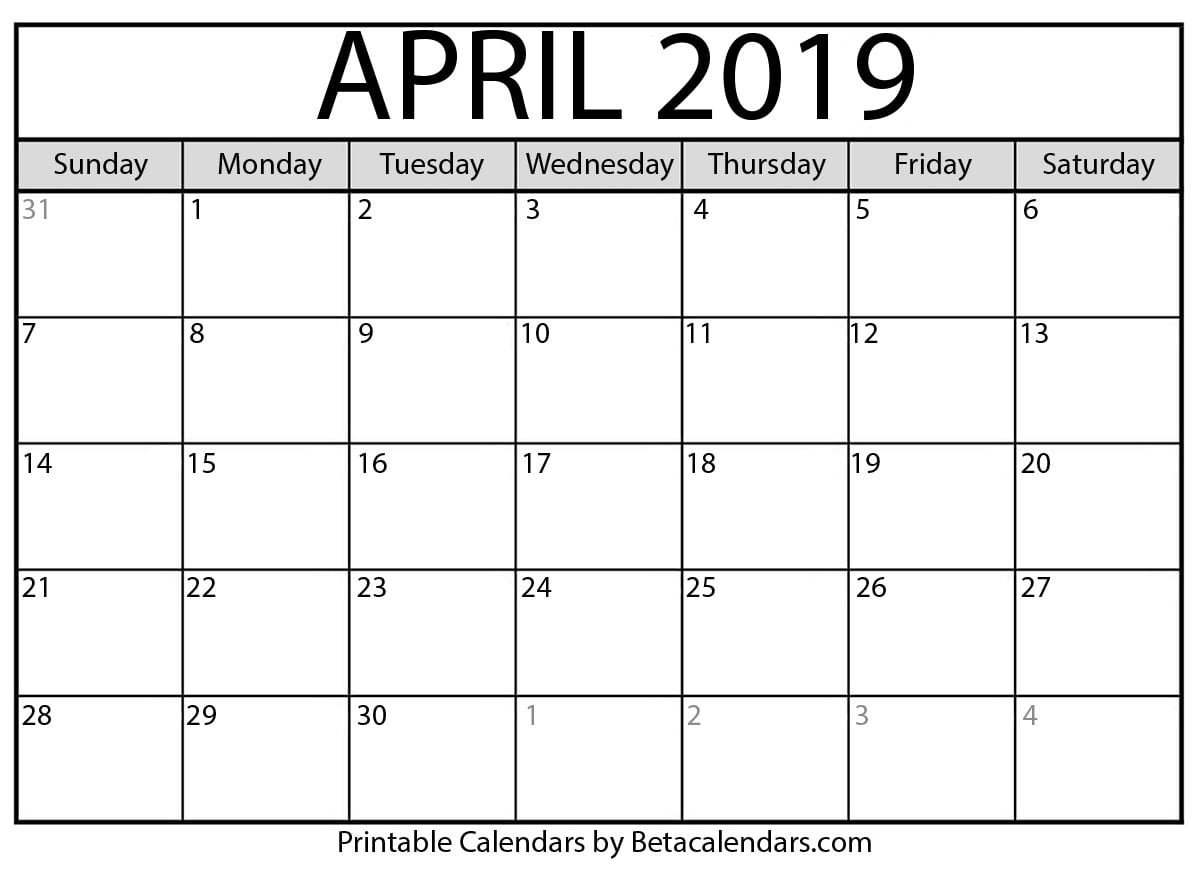 April 2019 Calendar - Mateo Pedersen - Medium Show A 2019 Calendar