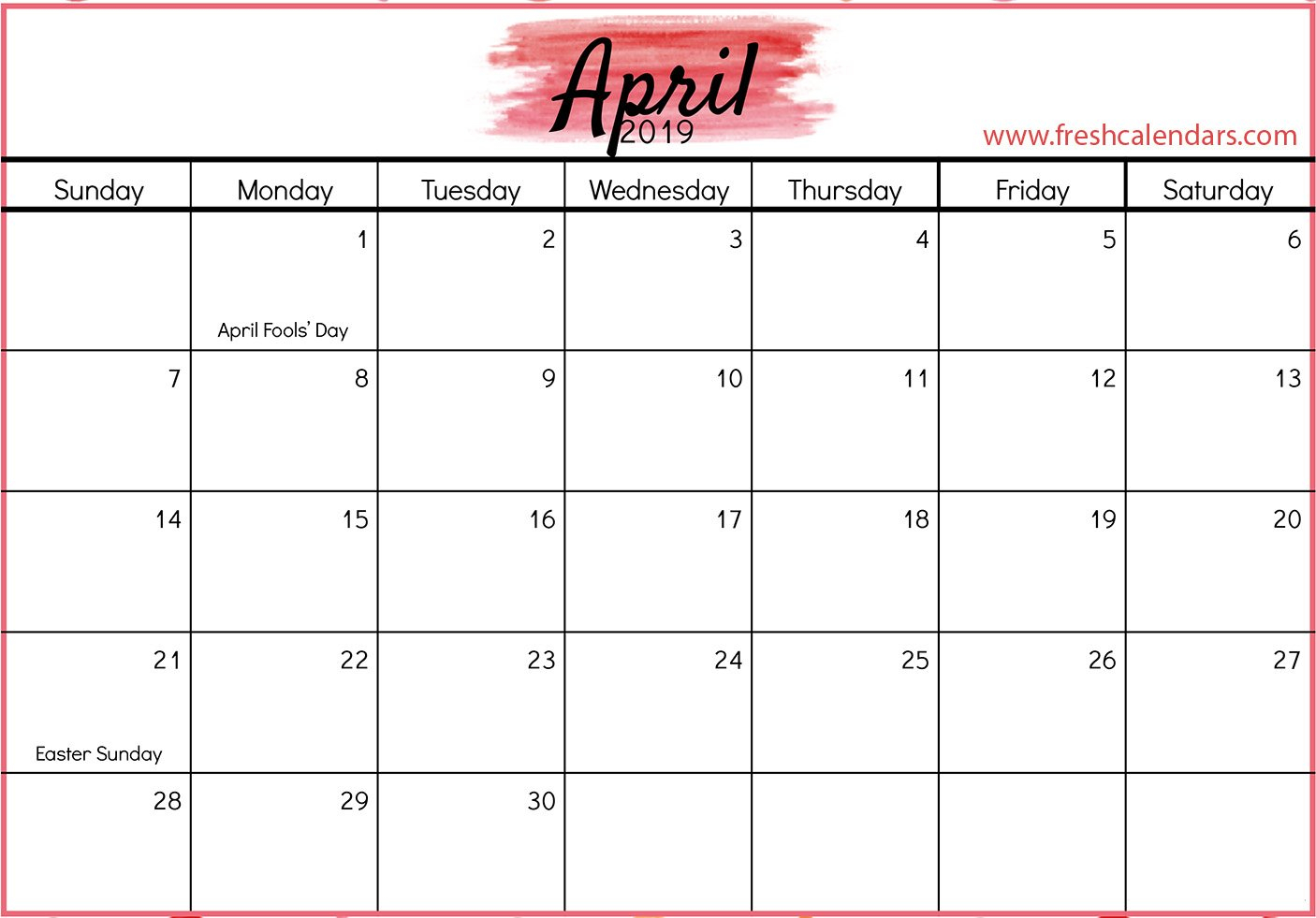 April 2019 Calendar Printable – Fresh Calendars A Calendar For April 2019