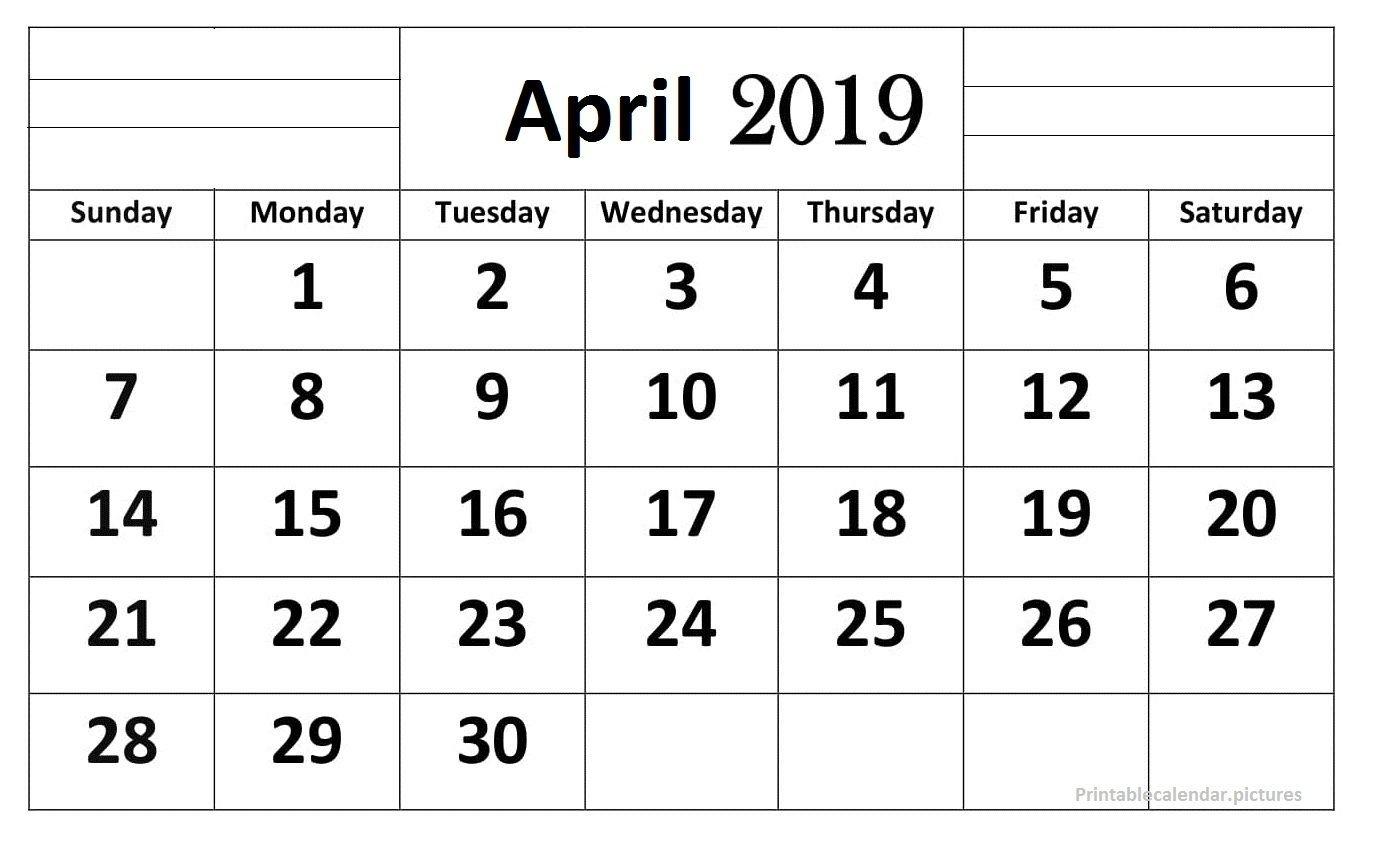 April 2019 Calendar Printable Large Print | April 2019 Calendar April 1 2019 Calendar