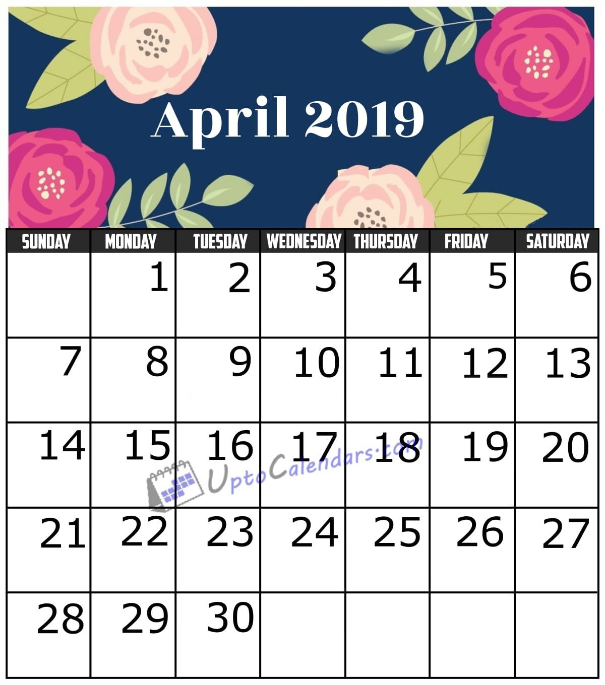 April 2019 Calendar Printable Template With Holidays Pdf Word Excel April 7 2019 Calendar